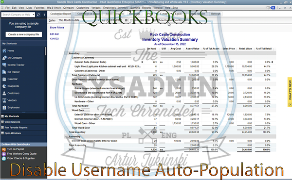 Disable Quickbooks Last User